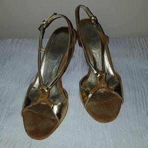 Prada Metallic Gold, Rope & Basket Weave Heels